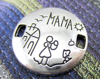 6 Antique silver charm 22mm round message Mama pendant stick figures jewelry supplies Mothers day jewelry connectors new Mama charms 8S(DD5)