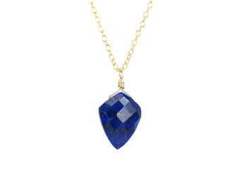Lapis necklace - spike necklace - lapiz lazuli necklace - arrowhead necklace - spear necklace