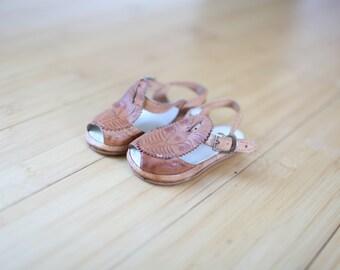 vintage tan leather hurache sandals infants 3