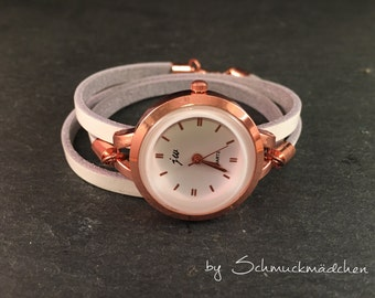 Watch Rosé gold leather white