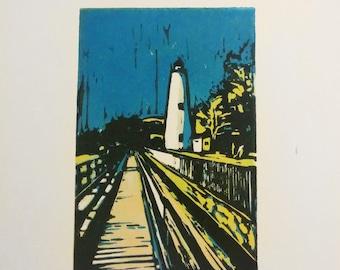 Ocracoke Lighthouse reduction print Outer Banks linocut Ocracoke Island