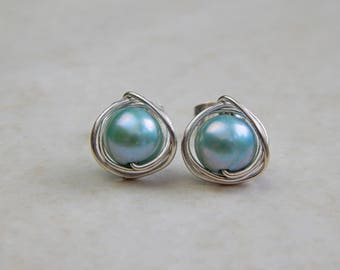 Turquoise Freshwater Pearl Stud Earrings, Pearl Earrings in Silver/Gold, June Birthstone, Pearl Jewelry, Bridesmaids Gifts, Birthday Gift