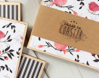 Bird Gift, Bird Decor, Bird Coasters, Cardinal Coasters, Cardinal Gift, Cardinal Decor, Pink Decor, Pink Coaster, Black Decor, Black Coaster
