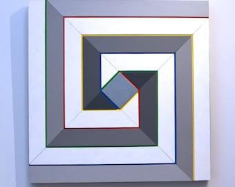 Shades of Grey 12 - original contemporary mixed media painting of acrylic on wood