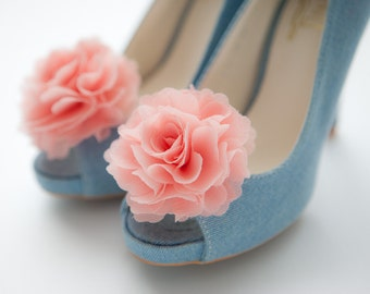 Light coral pink /Peach Pink-Set of 2,Chiffon flower shoe clips for bridal wedding-Choose your Color