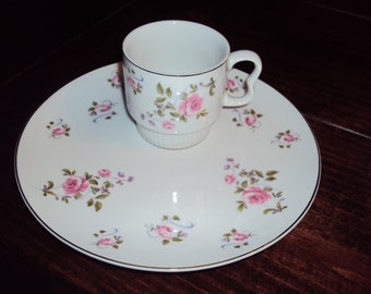 Royal Geoffrey Summer Rose Snack Plate w/ cup No extra shipping fee in US