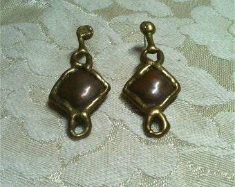 Copper & Brass Earrings Handmade, Hammered, One of a Kind from 1977 Unsigned, Art Fair Purchase