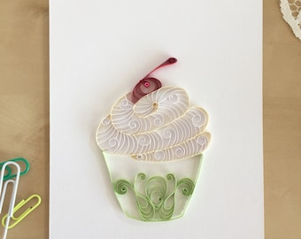 Pale Green White Cupcake, Vanilla Cupcake Wall Decor, Country Kitchen Art, Original Cupcake Decor, Food Wall Art, Quilling Paper Cupcake