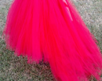Red Flower Girl TuTu Dress with train
