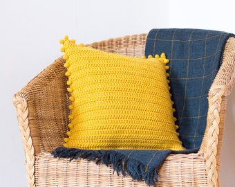 Pom Pom Pillow Cover, Mustard Yellow Cushion, Scatter Cushion, Throw Pillow, Yellow Pillow, Mustard Cushion, Scatter Pillow, Mustard Decor