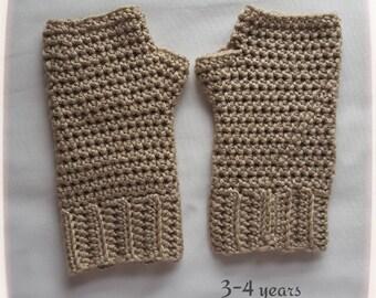 Crochet Fingerless Gloves Kids Children