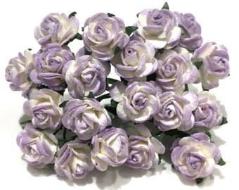 Purple And White Open Mulberry Paper Roses Or122