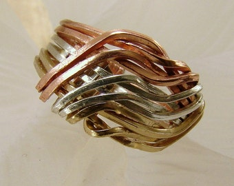Tri-Metal Wave Ring (Sterling, Gold-fill, Copper) Any size