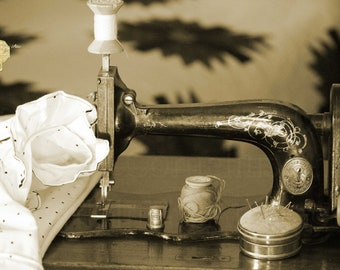 Sepia Photograph, Anique Sewing Machine with Vintage Notions in an Old Fashioned Setting, Interior Design for Craft Room