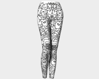 one of a kind womans black spandex doodle leggings tights yoga pants