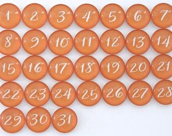 31 Orange Calendar Number Glass Magnets