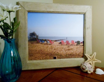 Beach Photo Framed Photography Handmade Recycled Wood Frame