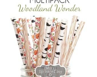 WOODLAND WONDER straws, Wood grain, birch tree, floral, wildflower, flowers, wedding, baby shower, party decor, rustic wedding