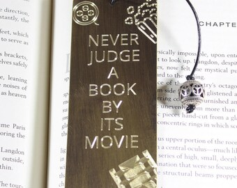 Never judge a book by its movie, antiqued copper bookmark, antiqued brass bookmark