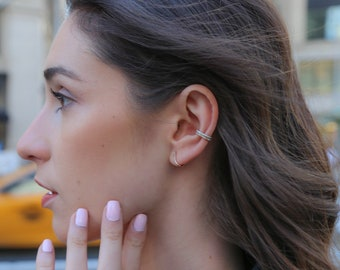 Gold 14k gold,  rose or white silver ear cuff  earring cuff dainty earring - pave stones sterling silver cz  diamond GLAM classic