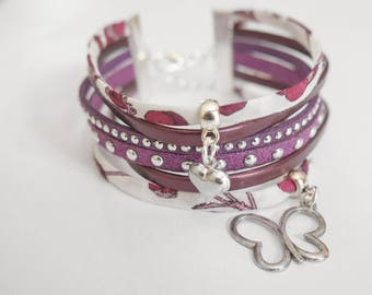 Purple and white Cuff Bracelet with liberty Ribbon
