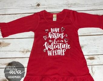 Love Kisses + Valentine Wishes Ruffled Long Sleeve Dress