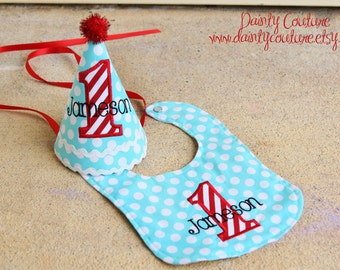 Boys 1st Birthday Party Hat and Bib - Darling aqua blue dots and red and white stripes - Michael Miller ocean dots