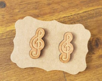 Music earrings, laser cut wood