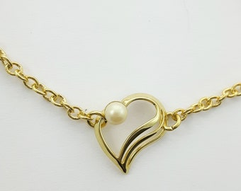 Vintage Pearl Chain Link Bracelet