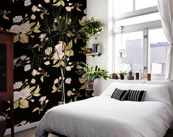 Dark Floral Vintage Wallpaper Satin  Roses Blue Brown removable wall mural, repositionable wall decor, peel and stick reusable #19