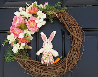Easter Bunny Wreath | Easter Spring Wreath | Floral Wreath |