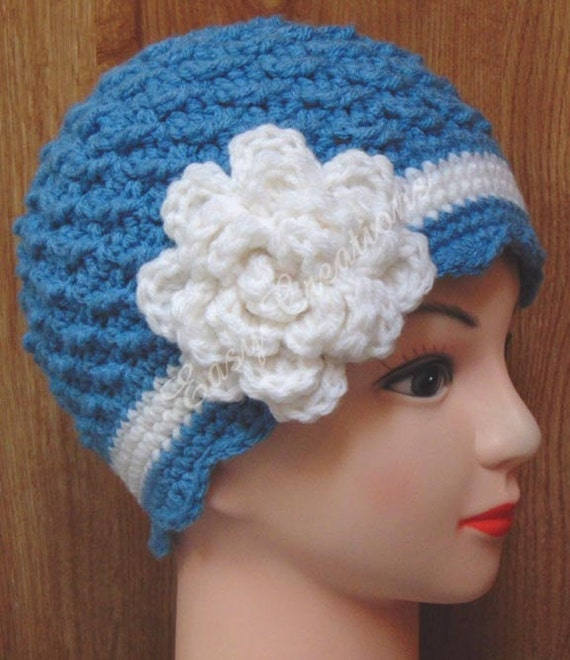 Crochet Pattern Chemo Hat Bow Flower Cap Cancer Pink Beanie