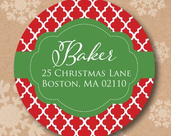 Christmas Card Sticker Labels Return Address Label Holiday Gift Stickers Round Labels