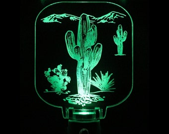 Cactus Desert Saguaro Night light, Acrylic, Led, Sensor Choose your color, southwest theme