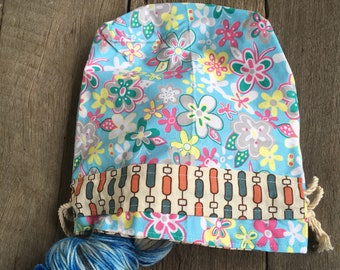 Drawstring Project Bag- Flower Power