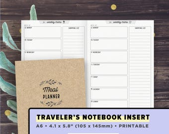 A6 Travelers Notebook Insert | Meal Planner, Weekly Menu Plan with Grocery Shopping List | Printable TN Inserts A6 | Digital Download PDF