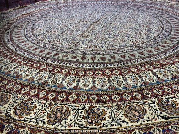 """Traditional 82"""" inches round tablecloth, original block printed calico tapestry art with natural dyes , dining table decor"""
