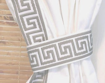 Grey and White Greek Key Trimmed  Curtain SALE -