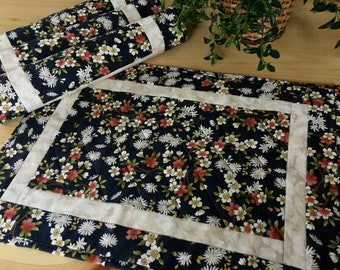 Black Quilted Placemats Set of 4 Handmade Patchwork Black Floral Table Mats Free US Shipping