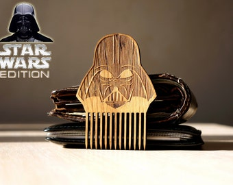 Star Wars Darth Vader Beard Comb Wooden Mustache Comb Gift idea Men For Him Fathers Day Gift Gift for Him Husband Gift Friend Gift