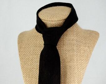Men's Necktie - Black Linen SKINNY or SLIM Tie