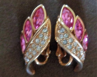 Vintage Swarovski Earrings Pink in gold tone setting Signed S.A.L.