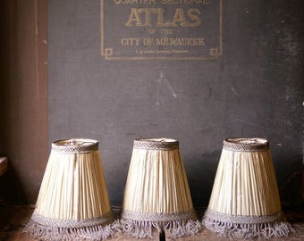 Vintage Set of Three Silk Lamp Shades with Gold Trim and Glass Beaded Fringe - Twenties Flapper Decor