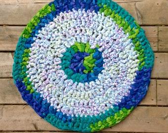 "Green and Blue 25"" Circular Rag Rug"