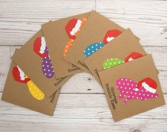 Christmas Frenchie Kisses pack of 6 Christmas cards, French Bulldog Christmas Card, Dog Christmas Card, 4x4 Brown Card, Merry Christmas Card
