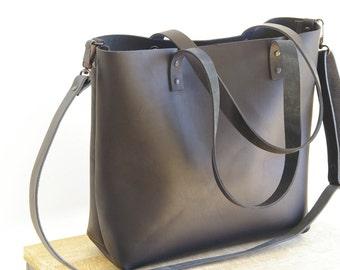 Black Natural Leather tote bag. Black Cap Sa Sal Bag. Handmade.