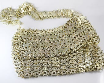 1960s Chainmaille Disc Linked Chain Evening Bag Gold Tone Metal Handbag