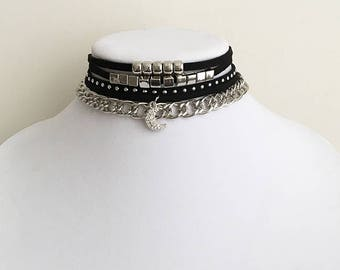 Get 10% OFF - Set of 5 Multilayer Choker Necklaces - Silver Charms Moon Charm - Black Choker Necklace -Mother's Day SALE 2018