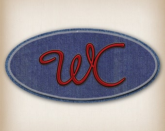 Sticker style Blue Denim WC door sign and Red 012