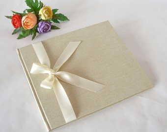 Guest book unlined natural linen (8x9in.20x23cm)  - Ready to ship
